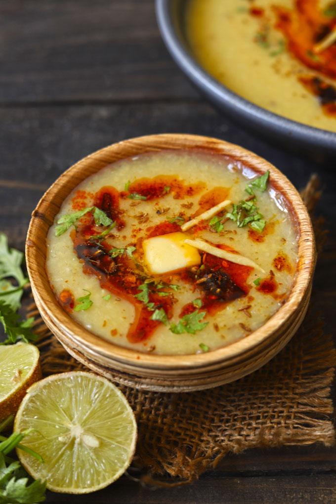 side shot of moradabadi moong dal in a bowl