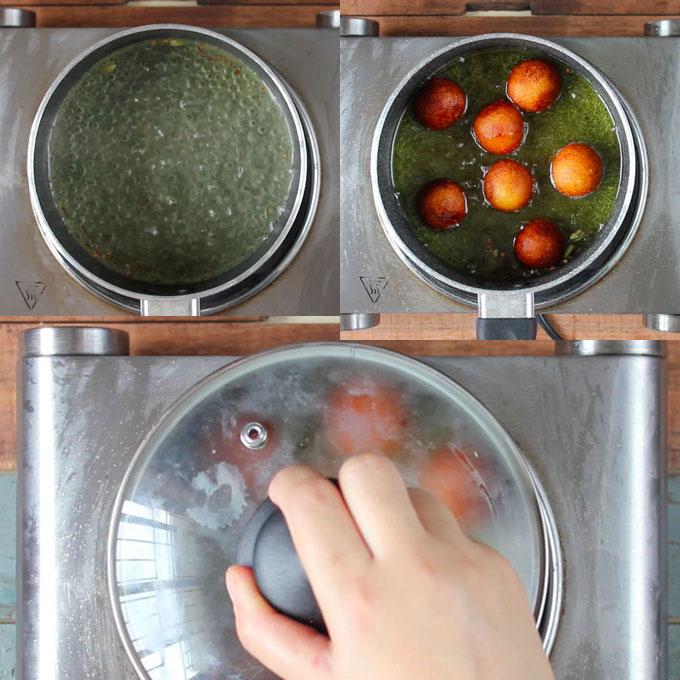 soaking gulab jamun in sugar syrup