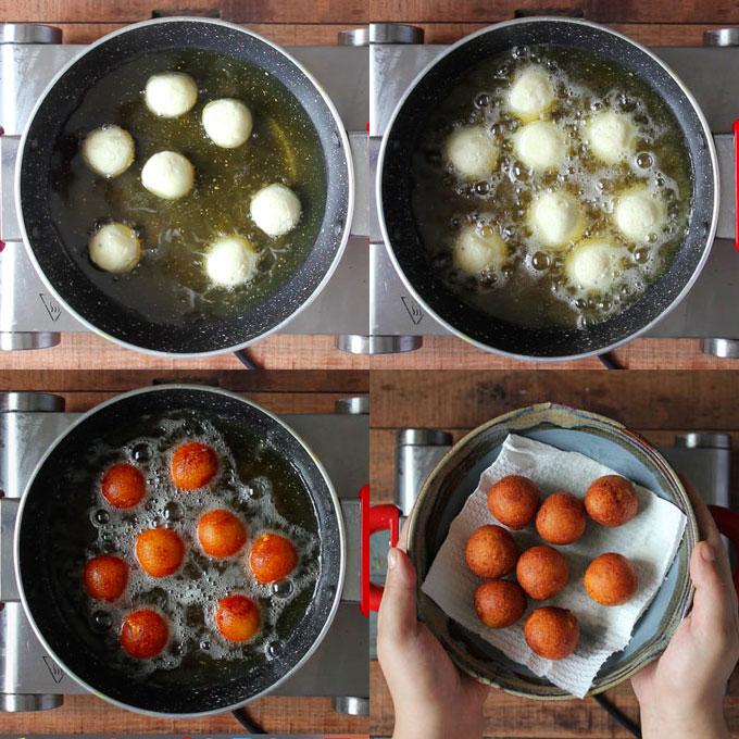 frying khoya gulab jamun