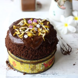 side shot of microwave chocolate cake