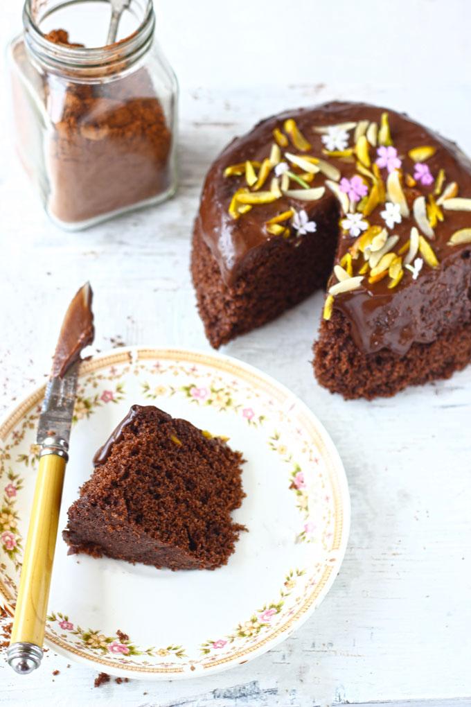 side shot of chocolate cake slice