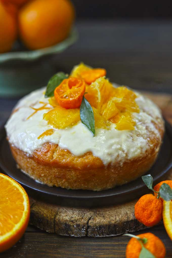 side shot of eggless orange cake