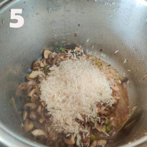 mushroom peas pulao cooking steps