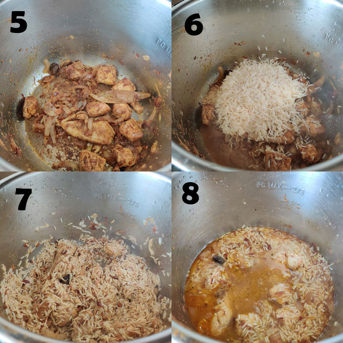 collage of chicken pulav cooking steps