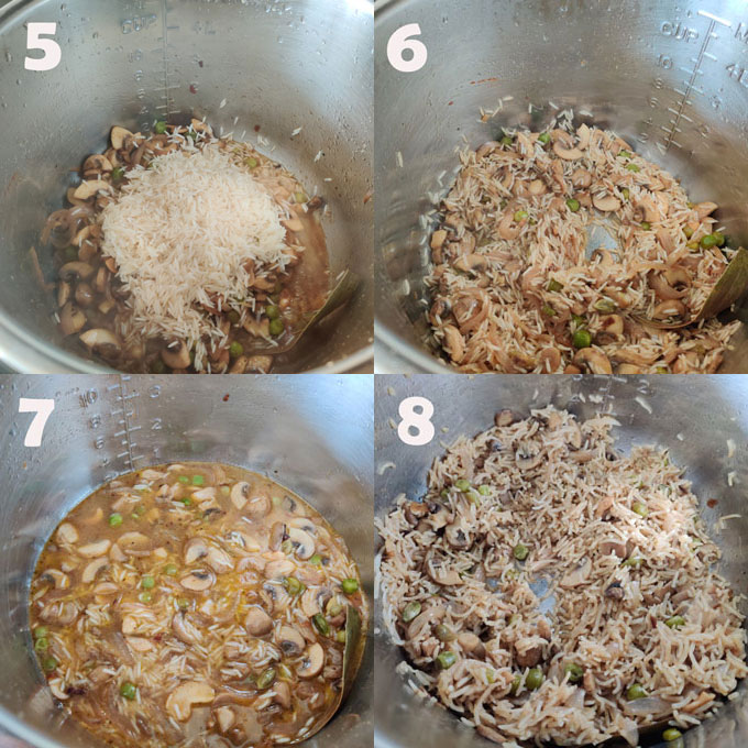 instant pot mushroom peas pulao cooking steps