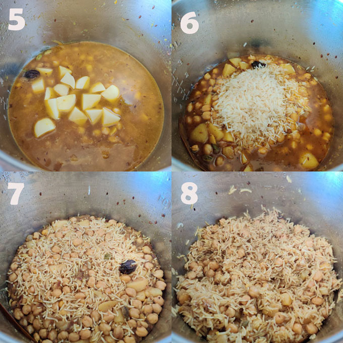collage of chana pulao cooking steps