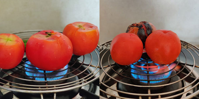 side shot of roasting tomato