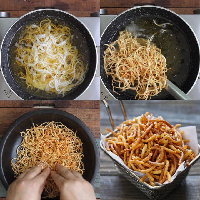 collage of crispy fried noodles cooking steps