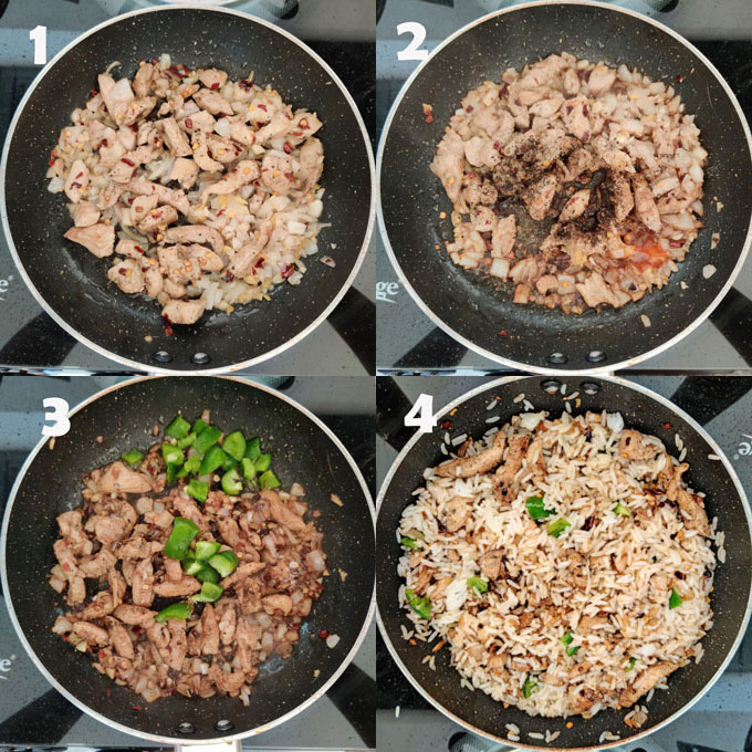 Collage of fried rice cooking steps