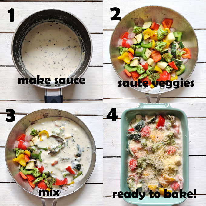 collage of baked vegetable cooking steps