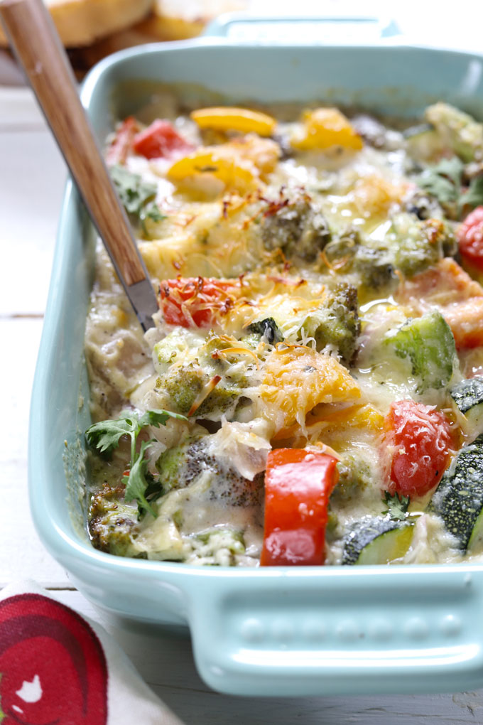 side close up shot of baked vegetable in a rectangular