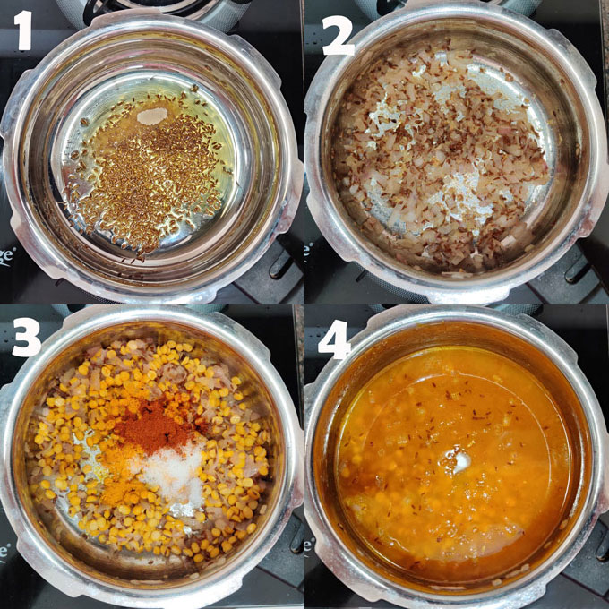 collage of chana dal cooking steps