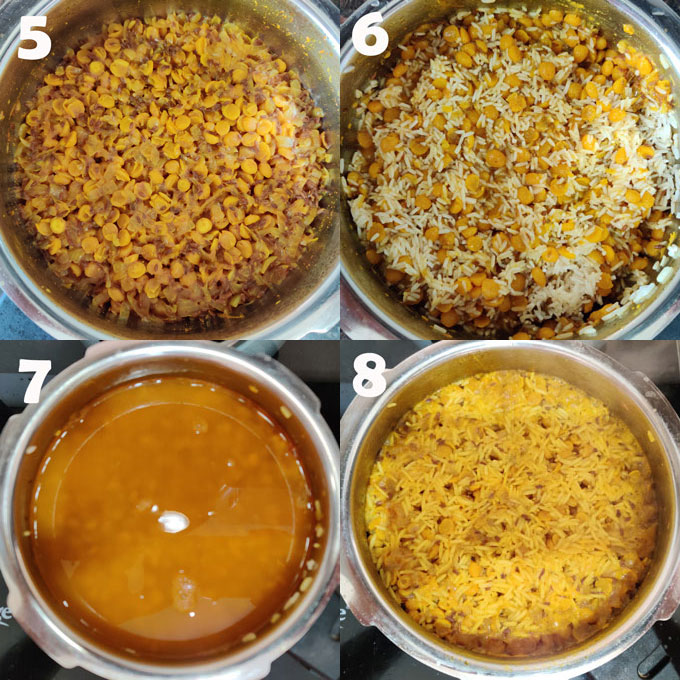 collage of chana dal khichdi cooking steps