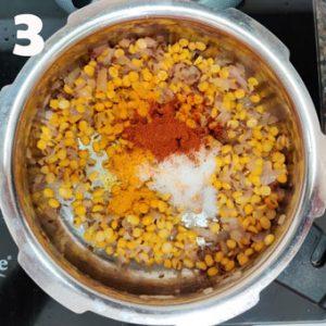 chana dal pulao cooking steps.