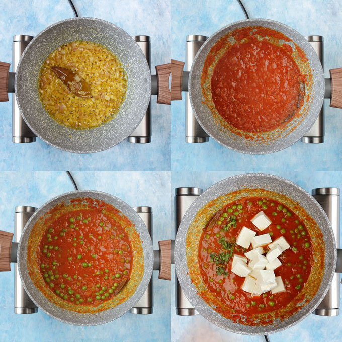 collage of matar paneer cooking steps