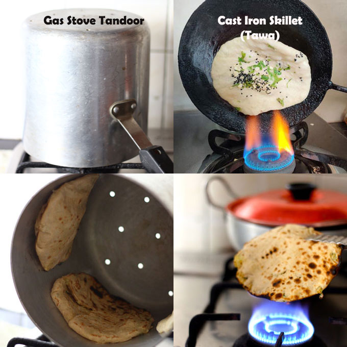collage of naan cooking method