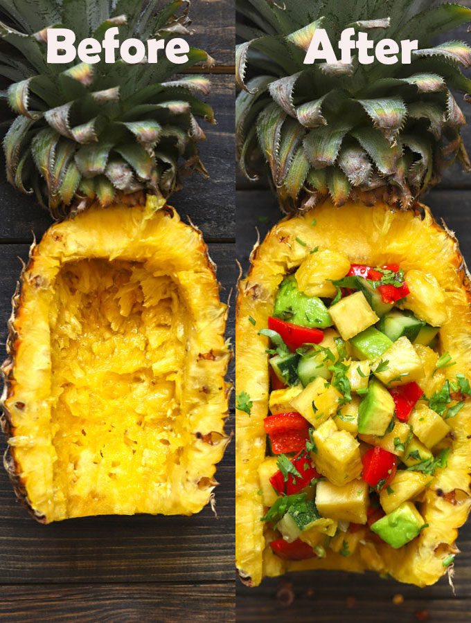 collage of pineapple salad