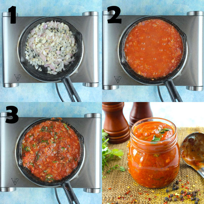 collage of marinara sauce cooking steps