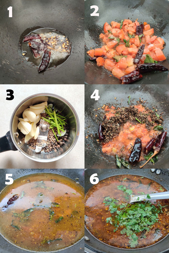 collage of rasam recipe cooking steps