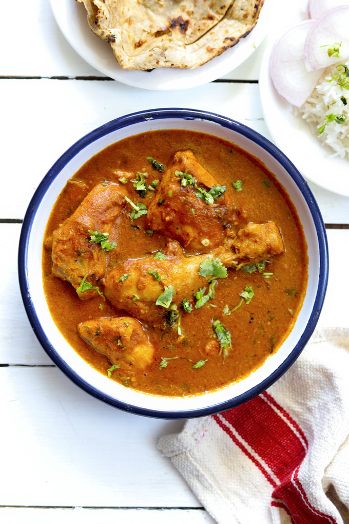 aerial shot of murgh curry in a white bowl