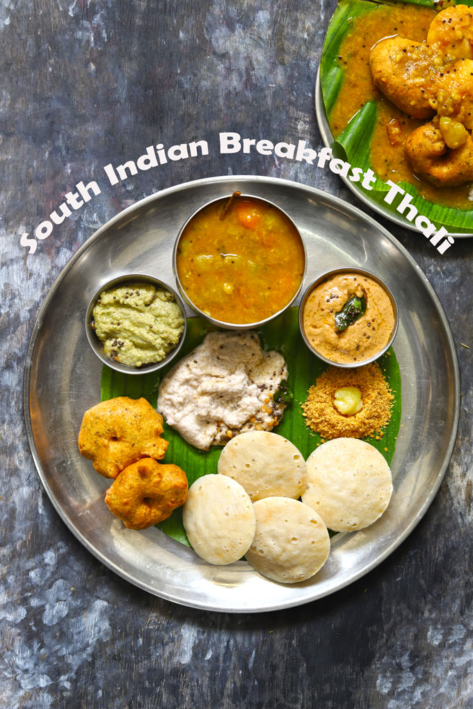 aerial shot of South Indian breakfast thali