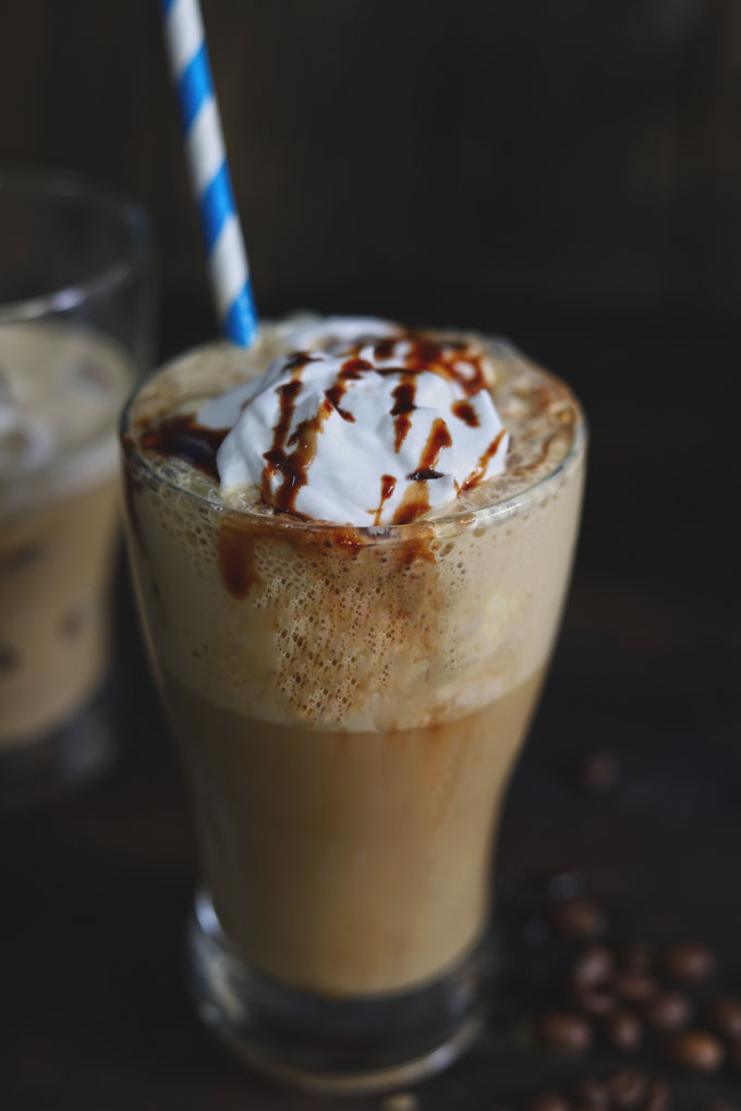 side shot of cold coffee with ice cream