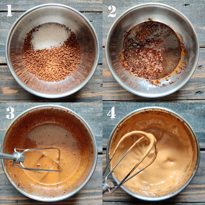 collage of coffee whipping steps using a hand mixer