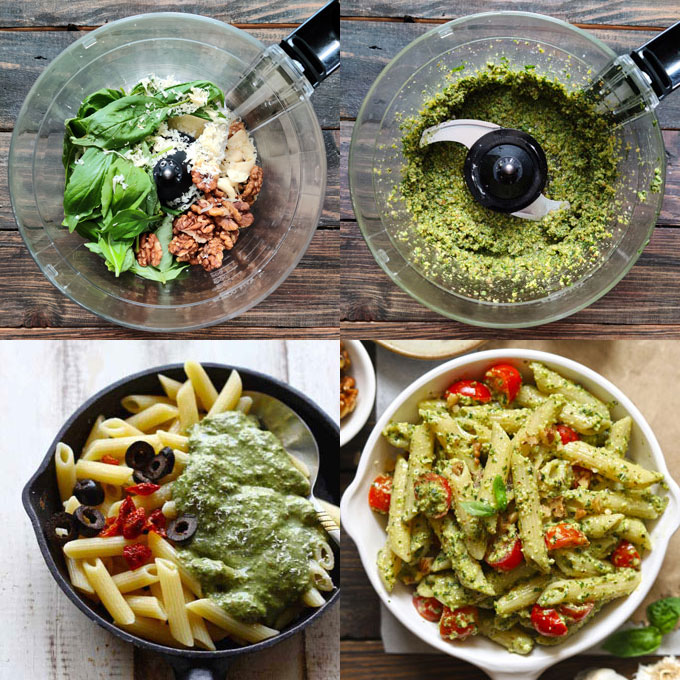collage of pesto making steps in a food processor