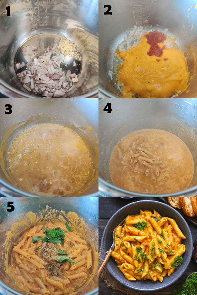 Collage of step by step instant pot pumpkin pasta cooking steps