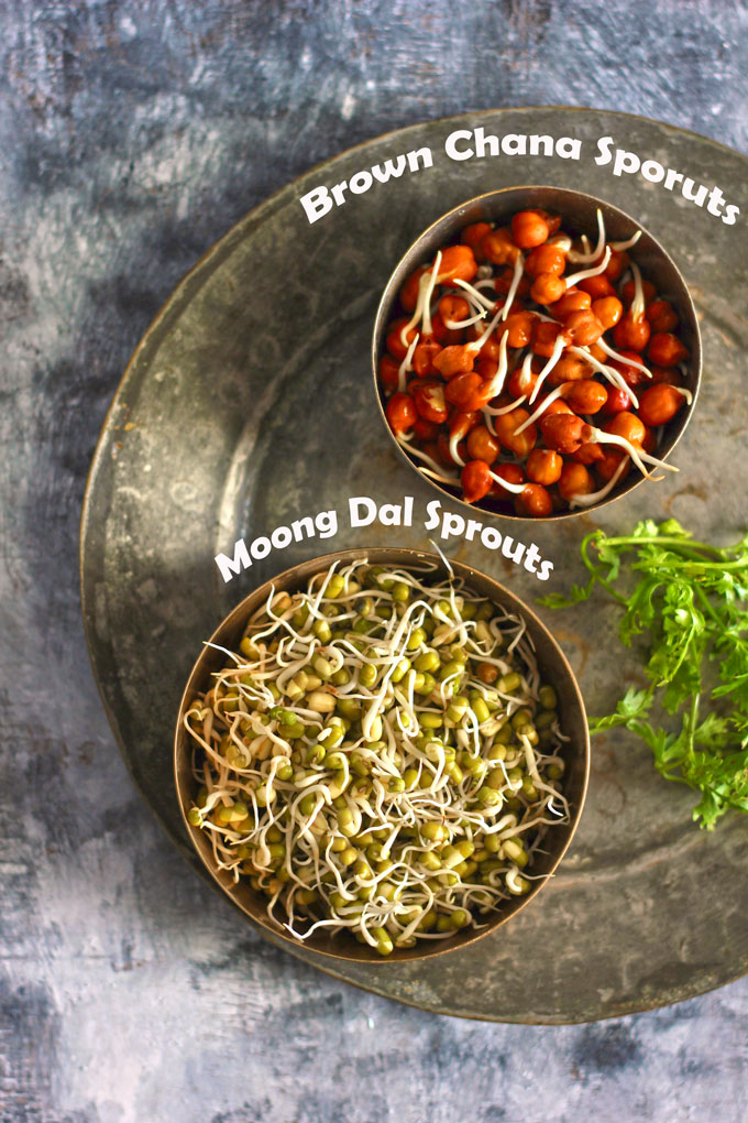 aerial shot of dal and chana sprouts in a bowl