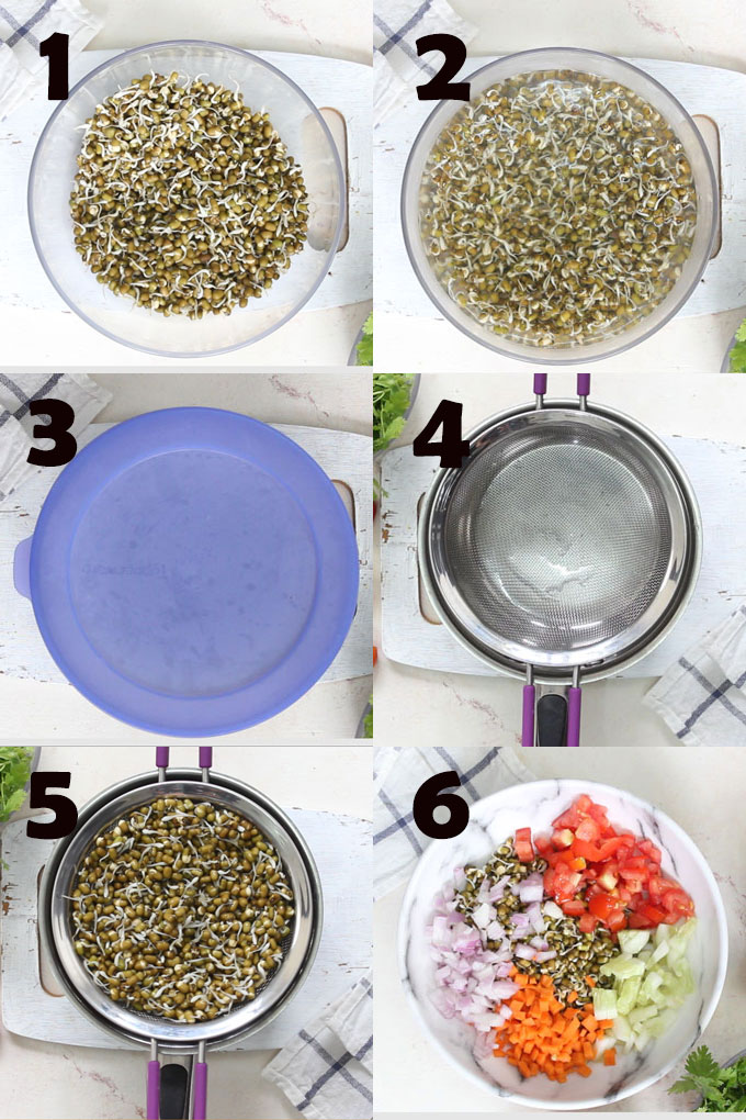 collage of mung bean sprout salad making steps