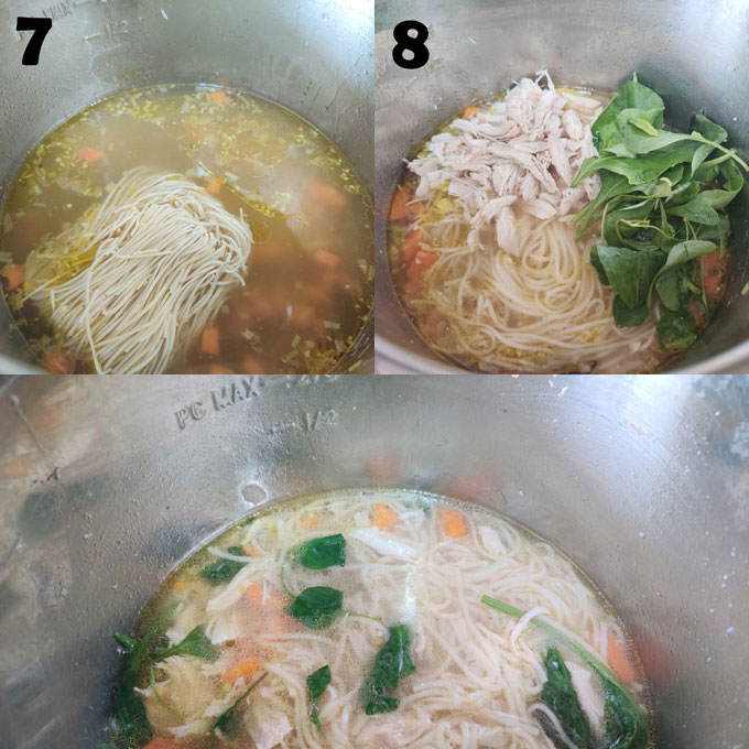 collage of chicken noodle soup