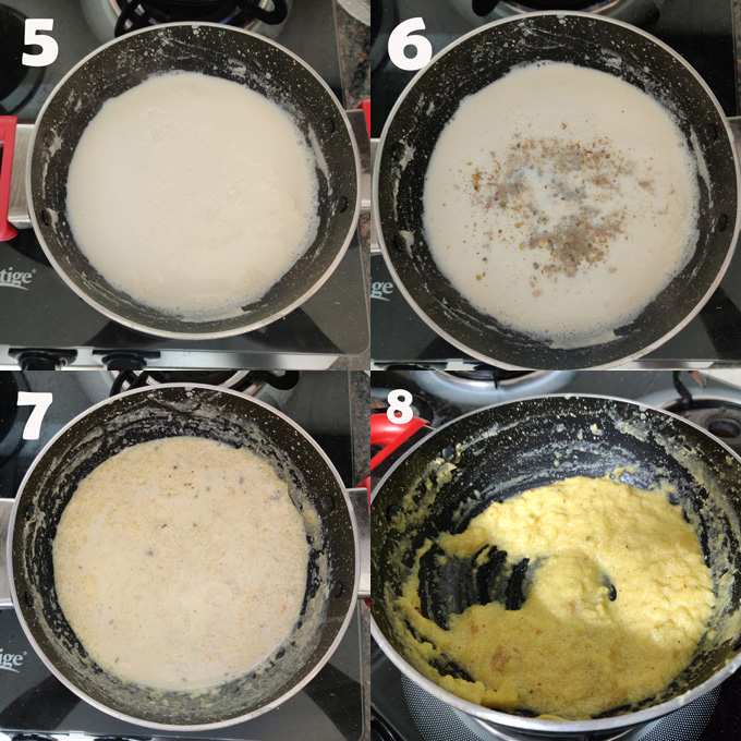 collage of firni cooking steps