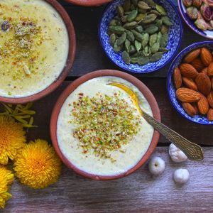 aerial shot of phool makhana phirni in an earthern bowl