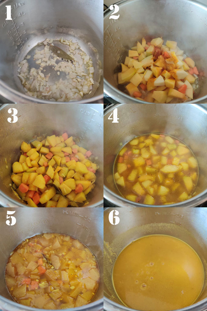 collage of instant pot curried pumpkin soup cooking steps.