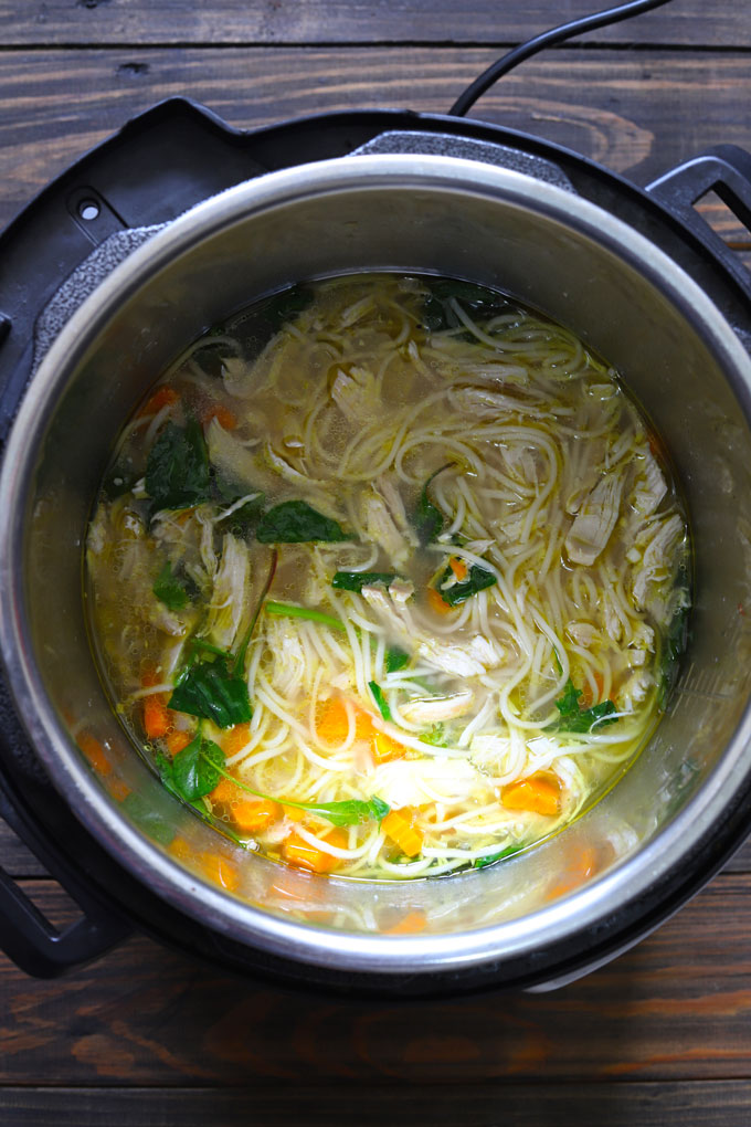 aerial shot of chicken soup in an instant pot
