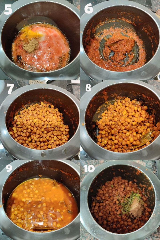 collage of chana masala cooking steps