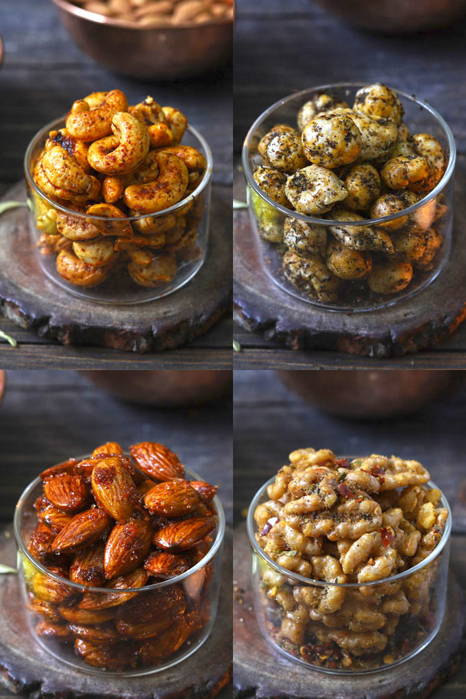 collage of roasted nuts in 4 flavors