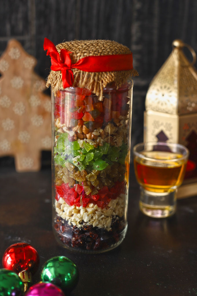 dried fruits in a bottle for the Christmas Cake