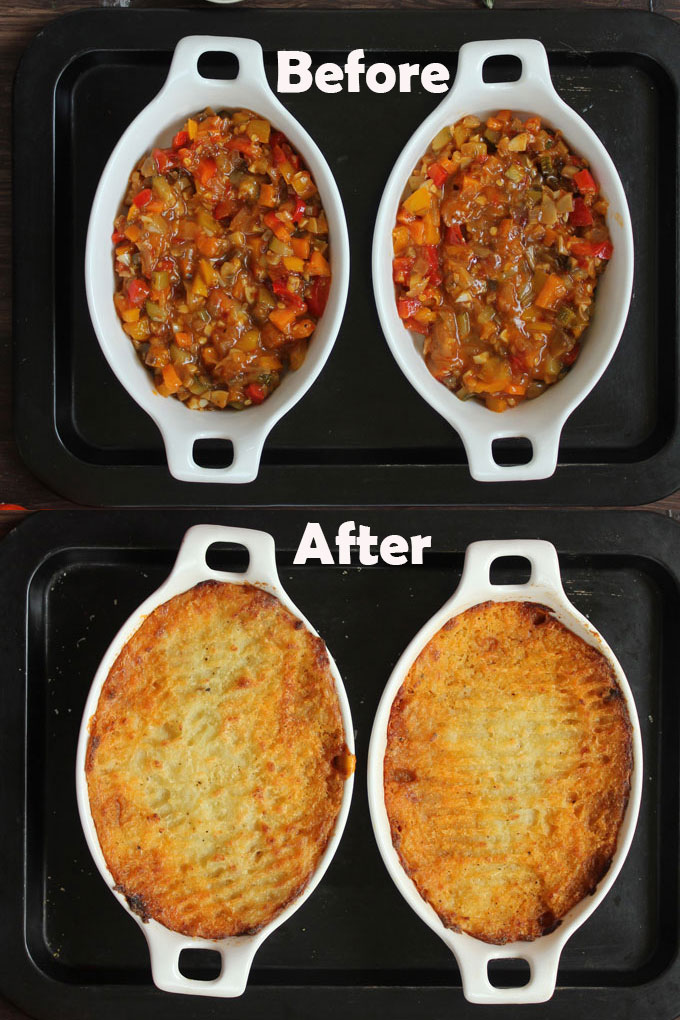 aerial shot of before and after of  veg Shepherd's Pie