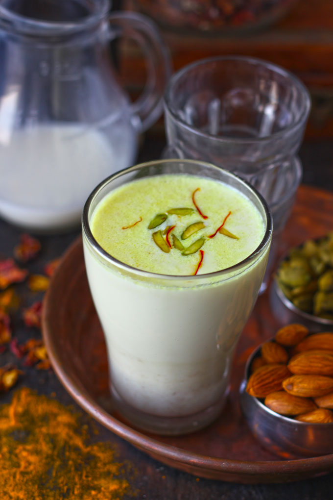 side shot of khas khas doodh in a glass