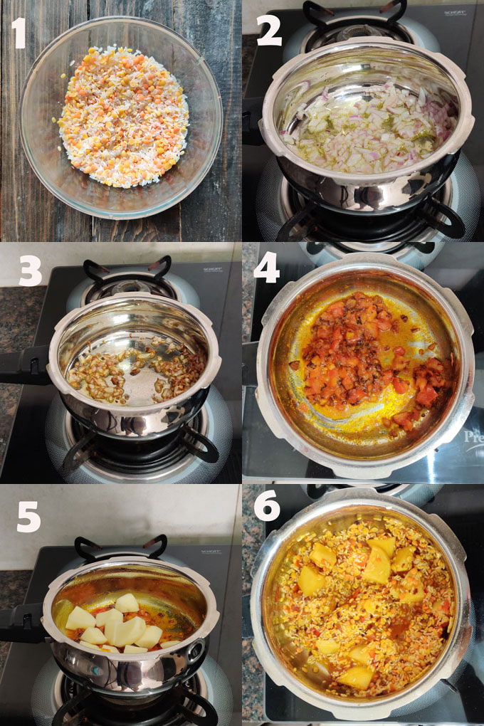 Collage of Khichdi Cooking Steps