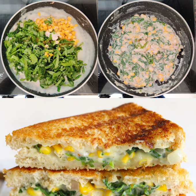 Collage of making spinach corn sandwich