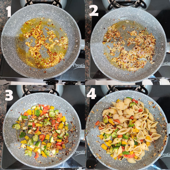 Collage of stir fry pasta step by step cooking steps