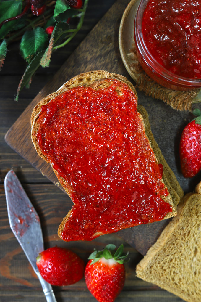 aerial shot of toast layered with strawberry jam