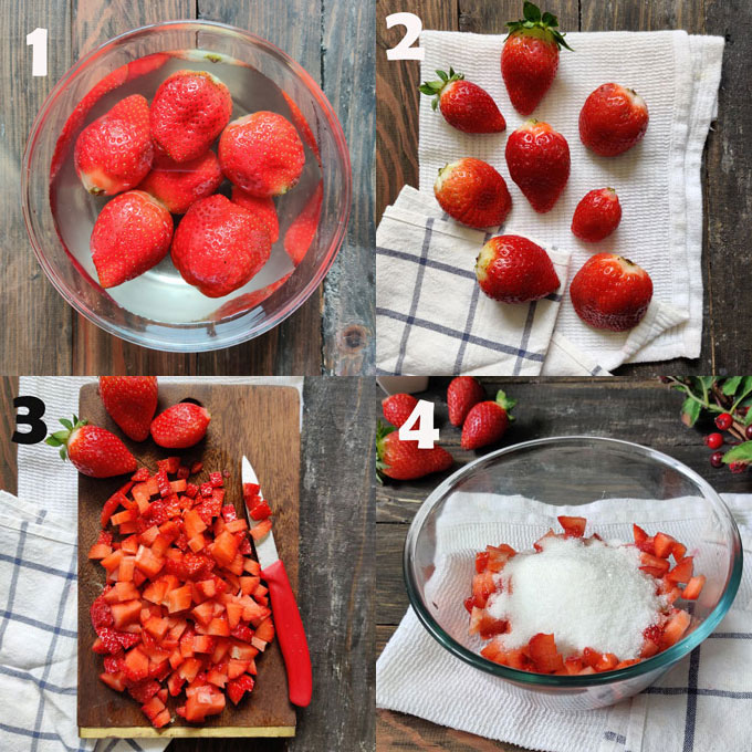 Step by step strawberry jam cooking method
