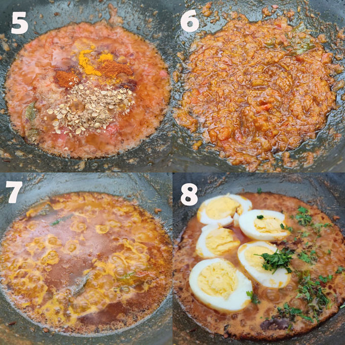Collage of Punjabi Anda Curry Cooking Steps