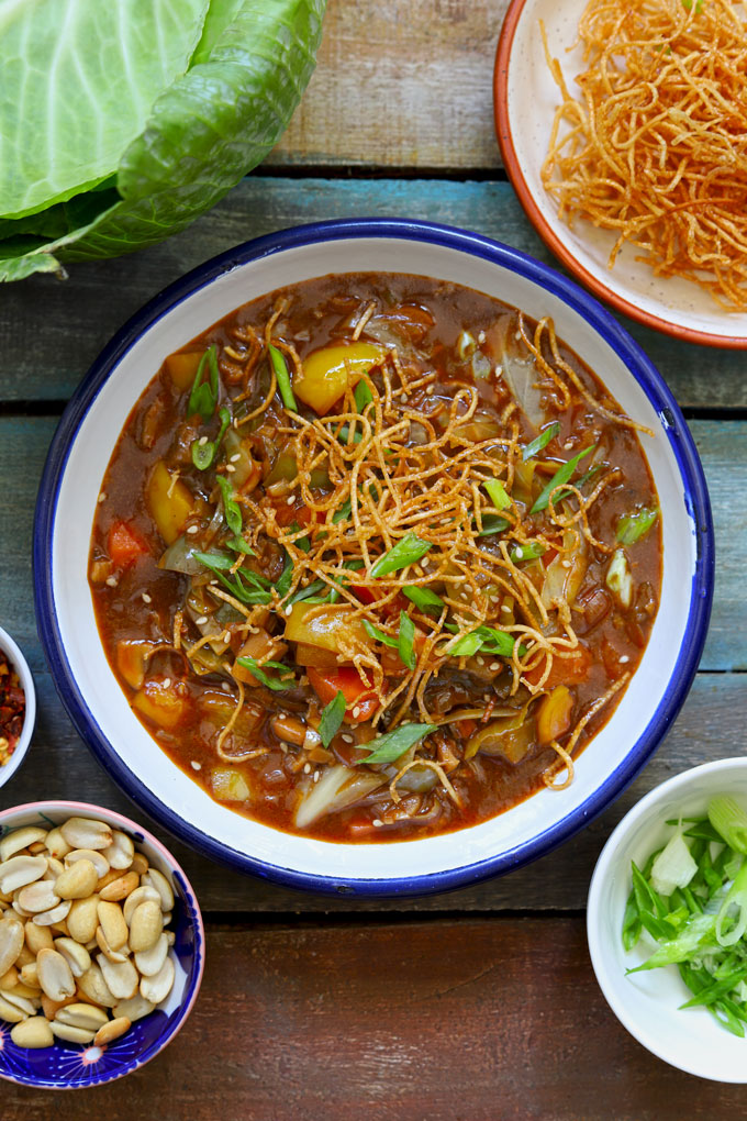 aerial shot of veg chop suey served on a white platter