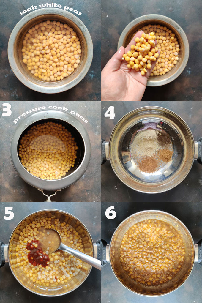 collage of cooking matar for kulcha