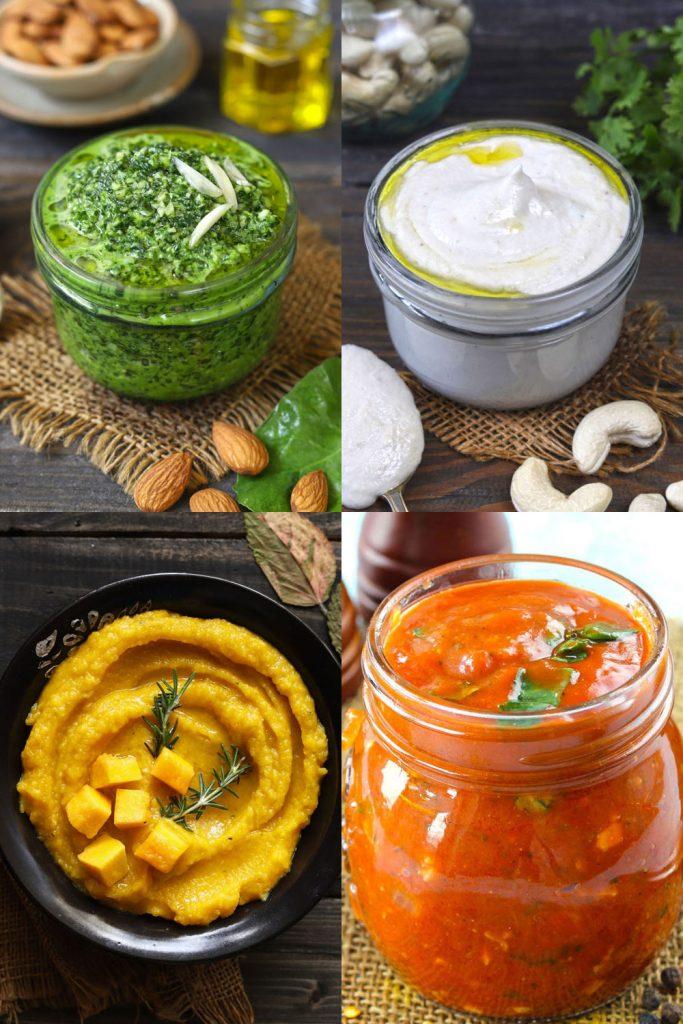 Collage of vegan sauce recipe